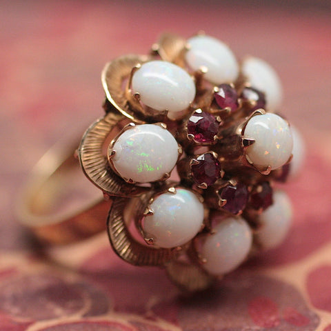 Circa 1960  Opal & Ruby Cocktail Ring