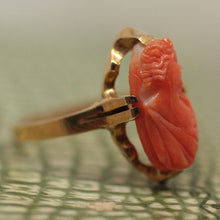 Circa 1930-1950 Carved Coral Cameo Ring