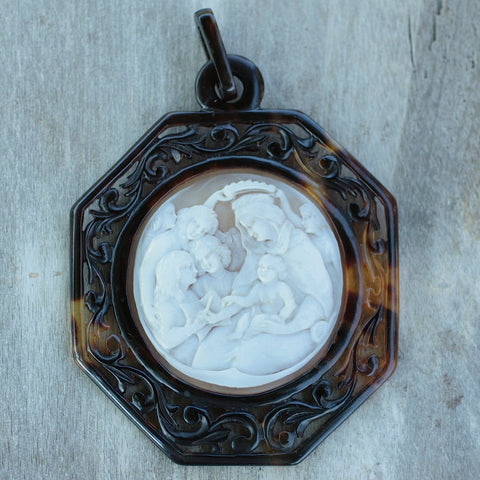 Circa 1870 Cameo in Tortoise Shell Frame