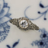 1920s 18k Filigree F VVS Diamond Ring