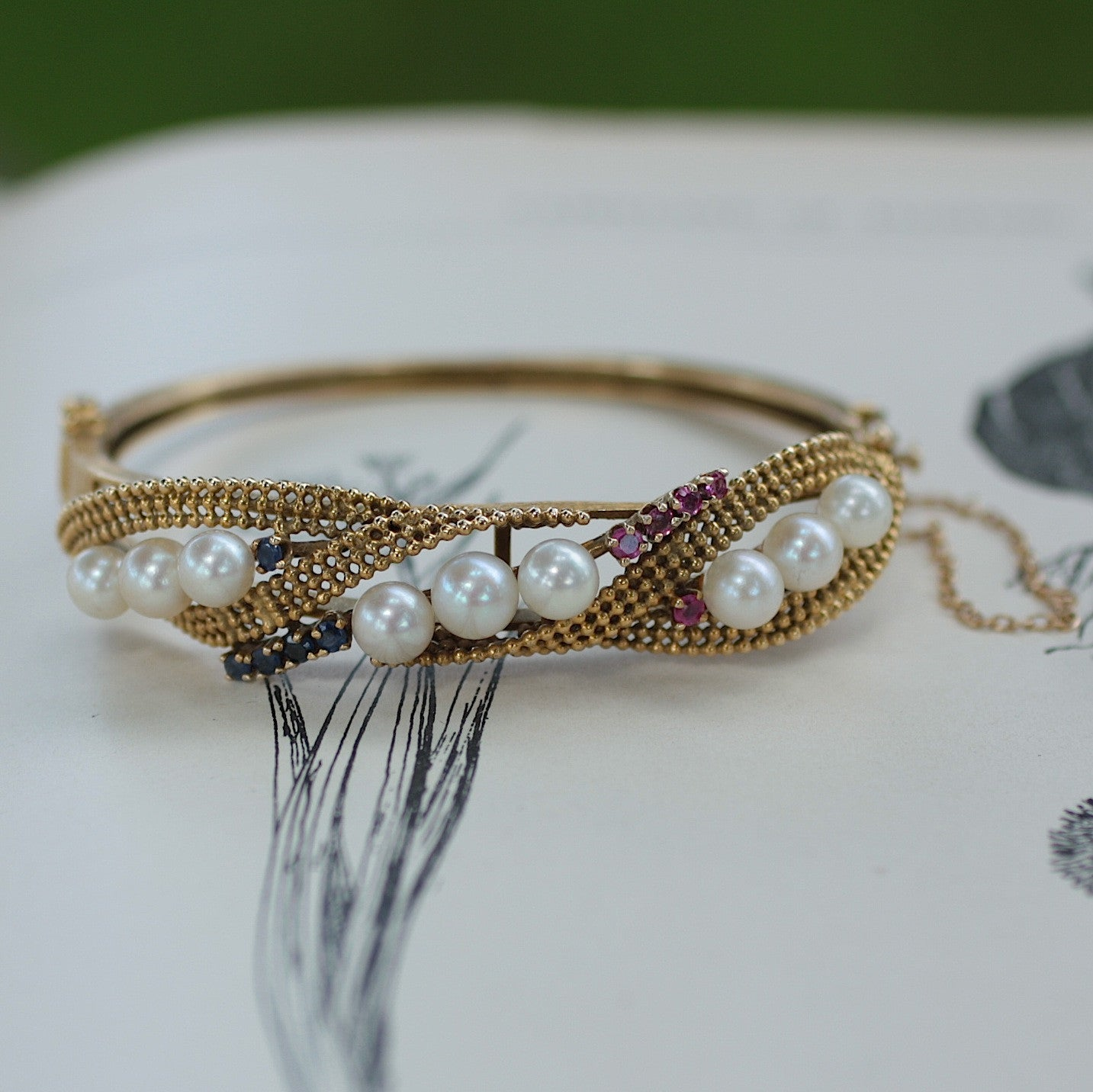 Circa 1950 Pearl Bracelet with Rubies and Sapphires