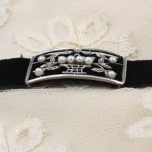 Rose Cut Diamond and Pearl Velvet Choker c1880
