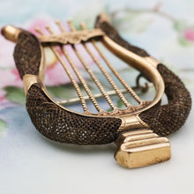 c1870 14k Memorial Tablework Hair Lyre Brooch