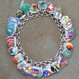 Vintage Sterling & Enamel European Travel Bracelet