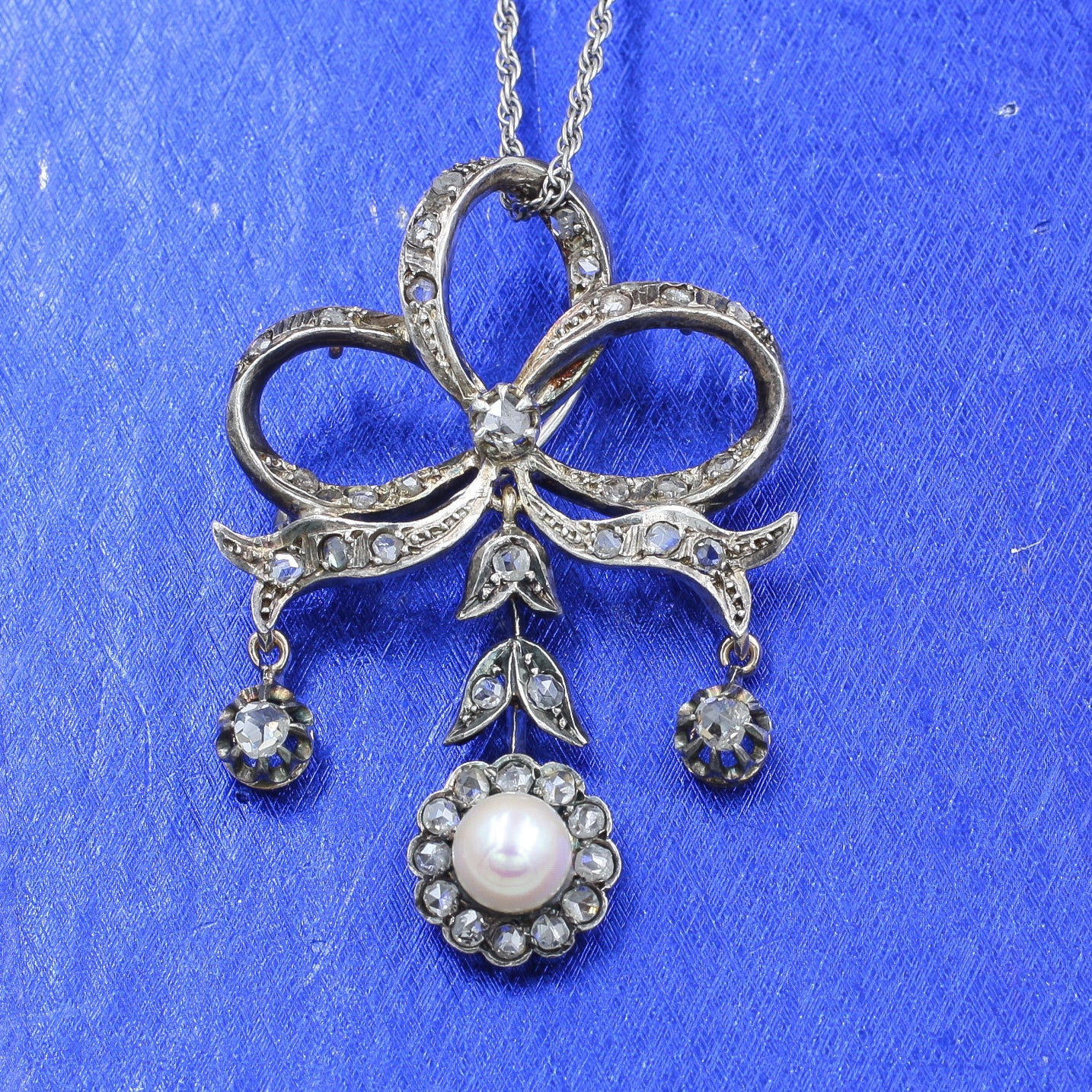 c1910-30 Rose Cut Diamond Bow and Flower Drop Pendant Brooch