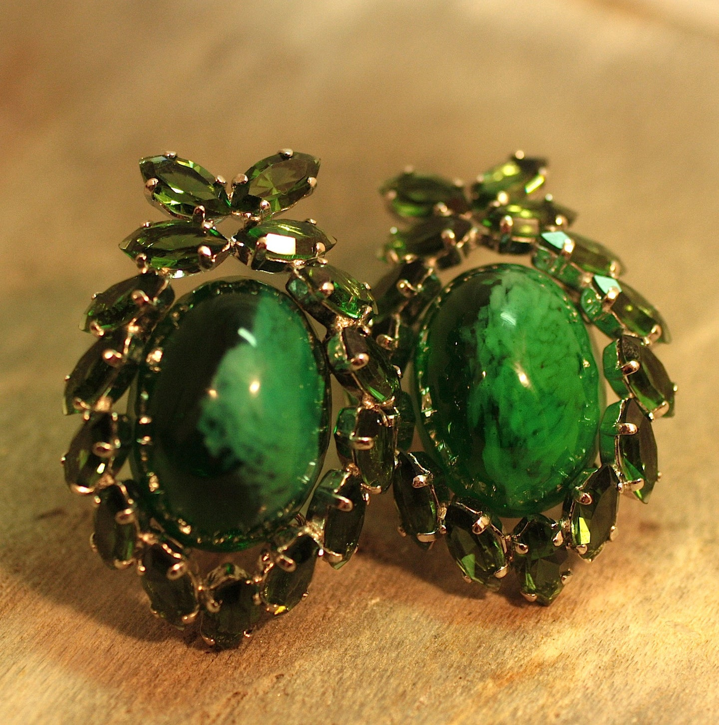 1961 Christian Dior Green Glass Earrings