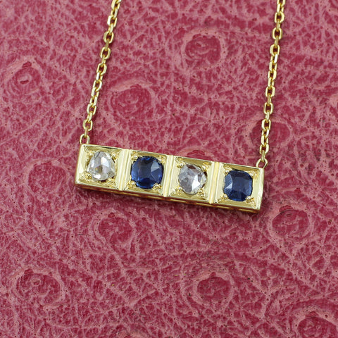 Rose-cut Diamond and Untreated Sapphire Bar Necklace