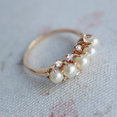 Circa 1900 14K Pearl & Diamond Ring