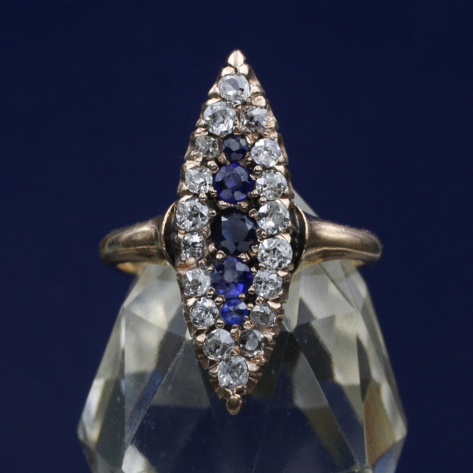 Burmese Sapphire and Rose Cut Diamond Navette c1880