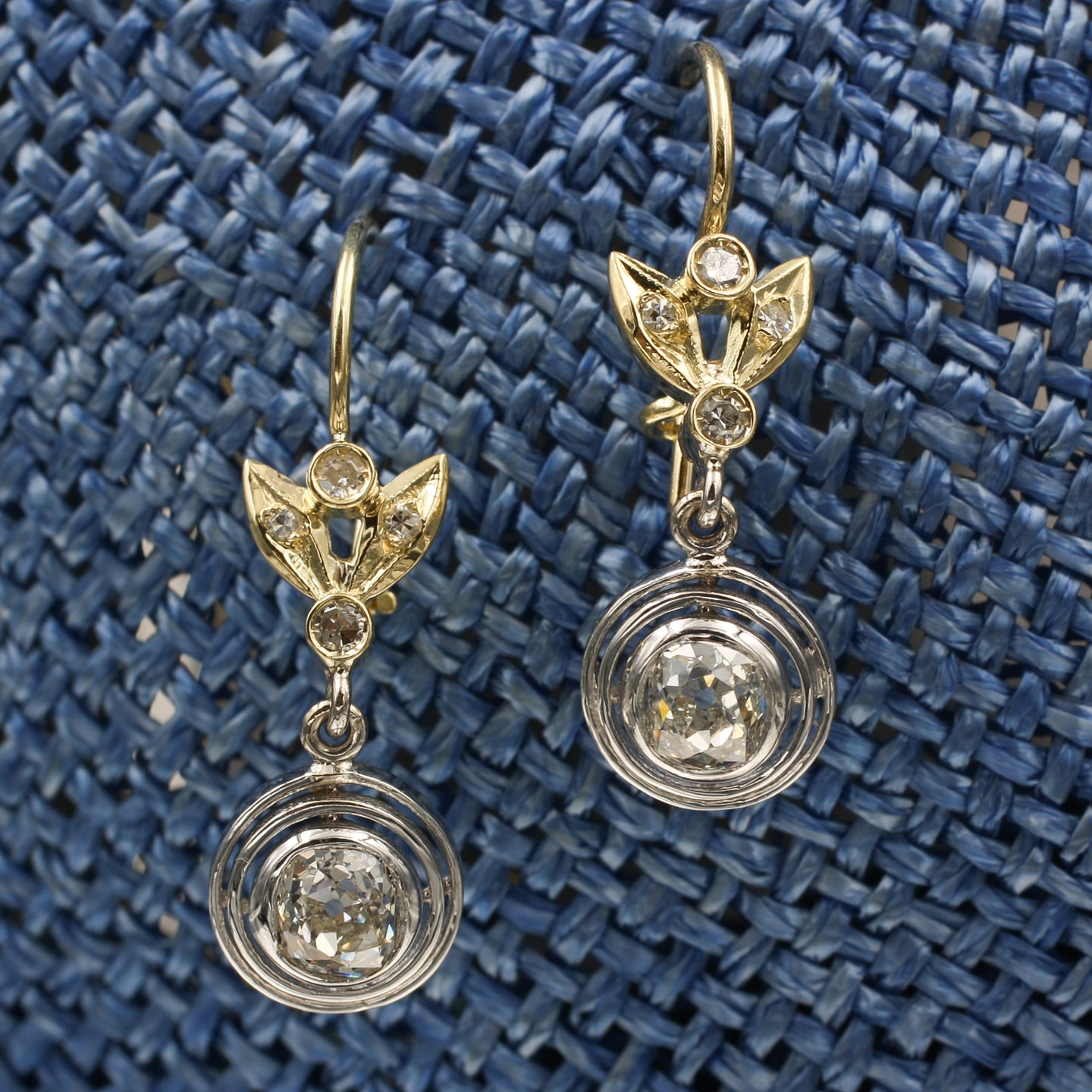 Old Mine Cushion Cut Drop Earrings c1890