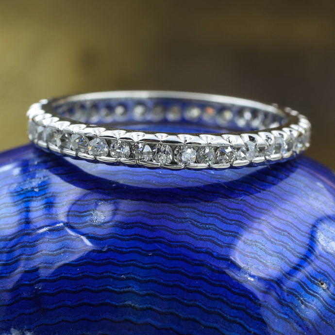 c1890 Old Mine Cut Diamond Platinum Eternity Band