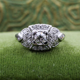 c1920 Handmade Platinum Diamond Ring with Pavé Setting