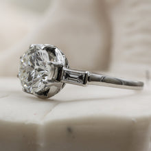 1940s Platinum Engagement Ring- Side View