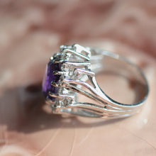 Circa 1950 Russian Amethyst & Diamond Ring
