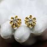 c1890 14k Old Mine Cut Diamond Buttercup Studs