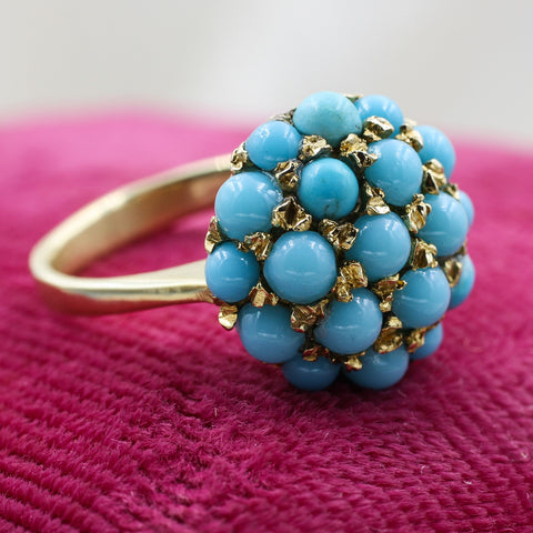 1930s-50s 18k Persian Turquoise Cluster Ring