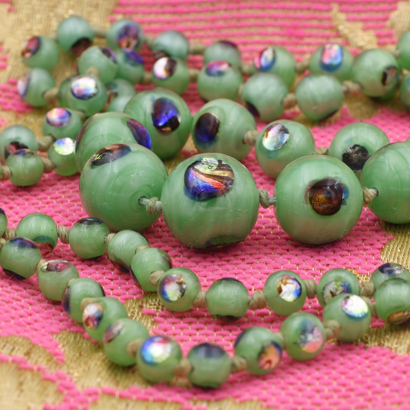 'Eye of the Peacock' Murano Glass Necklace c1930