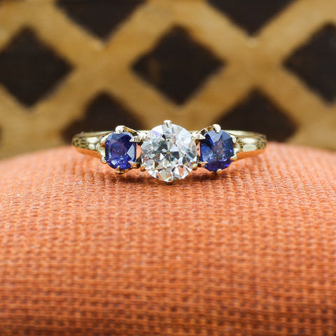 c1910 Old European Cut Diamond and Fine Sapphire Ring