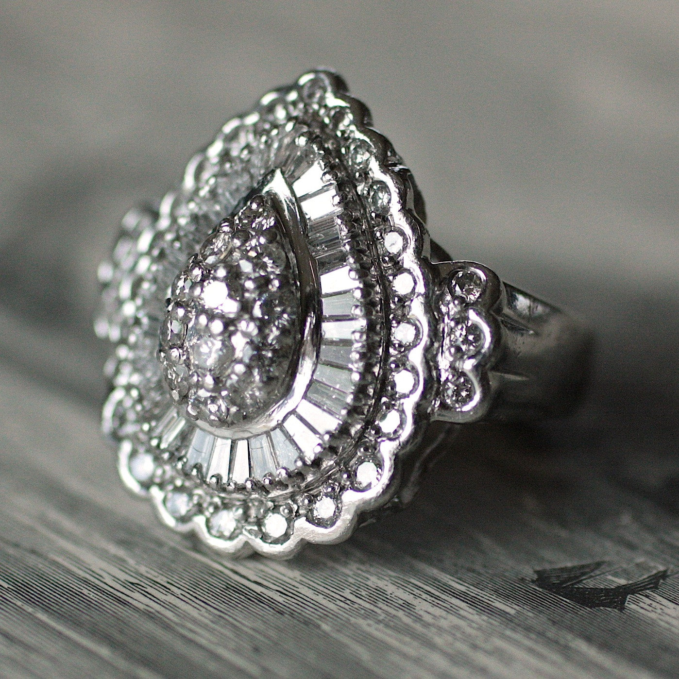 Circa 1950 Platinum & Diamond Cocktail Ring