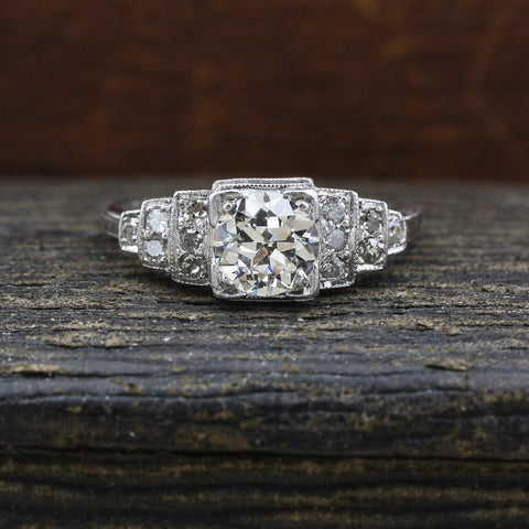 1934 Deco Platinum and Certified Diamond Step Ring