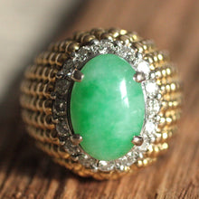 Circa 1970 14K Diamond & Jade Cocktail Ring
