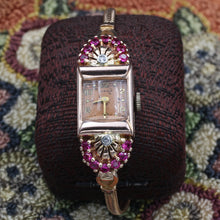 Retro Ruby Rose Gold Ladies Watch c1940