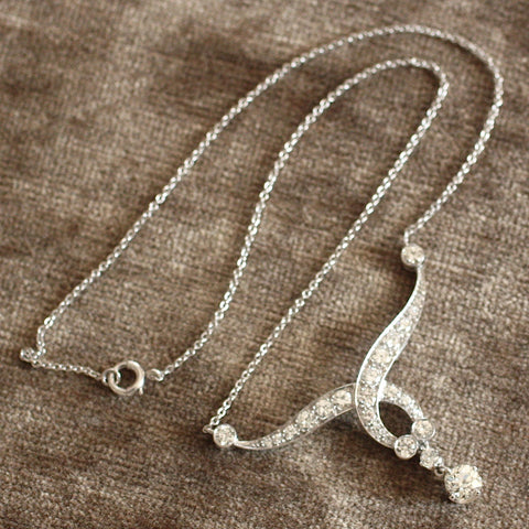 Circa 1930's Handmade Platinum & Diamond Necklace