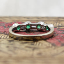Alternating Round Cut Emerald and Baguette Cut Diamond Band- underside view