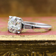 1940s Handmade Platinum 1.81 carat Old European Cut Diamond Ring
