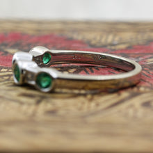 Alternating Round Cut Emerald and Baguette Cut Diamond Band- hallmarks