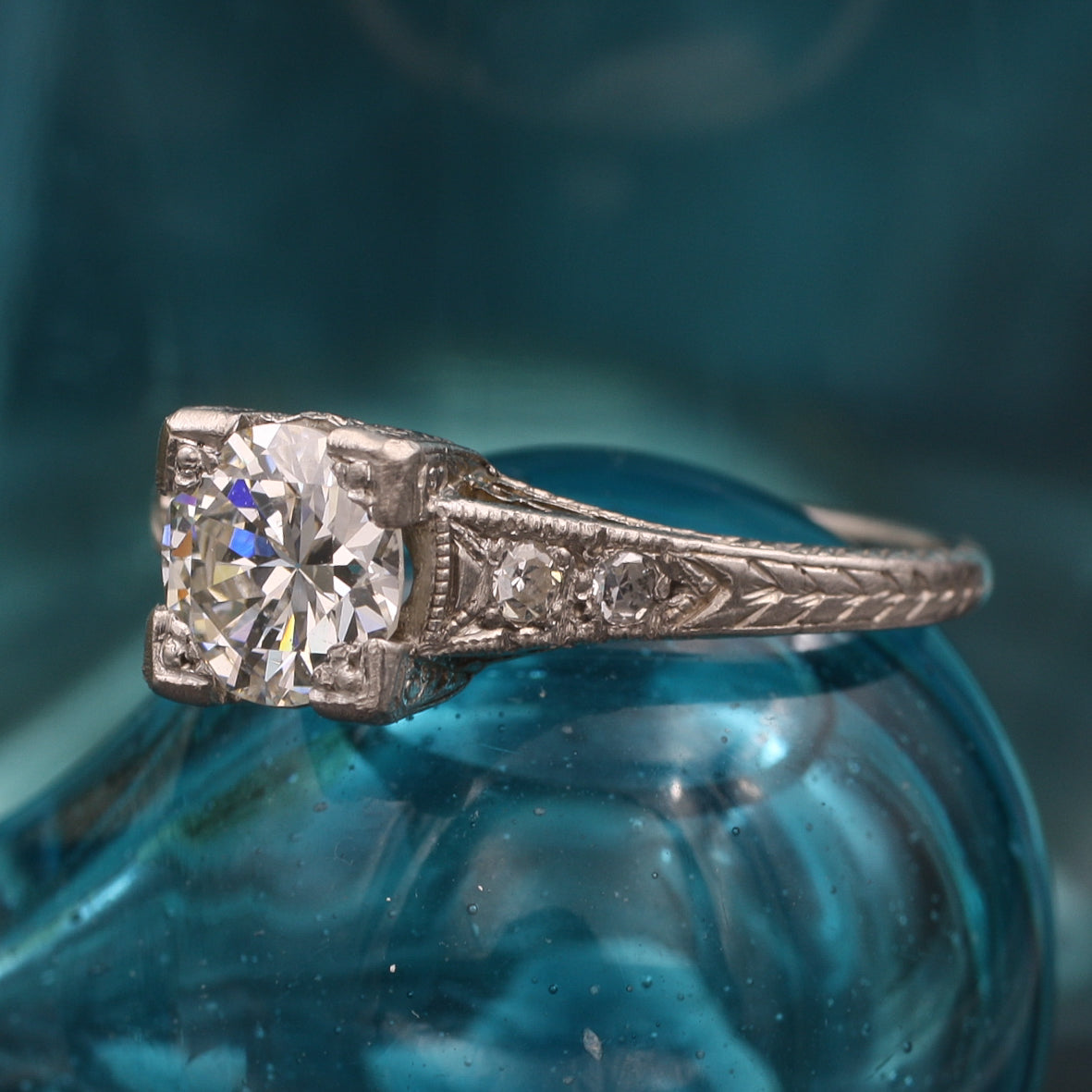 Embellished Square-Set Transitional Cut Diamond Ring c1920
