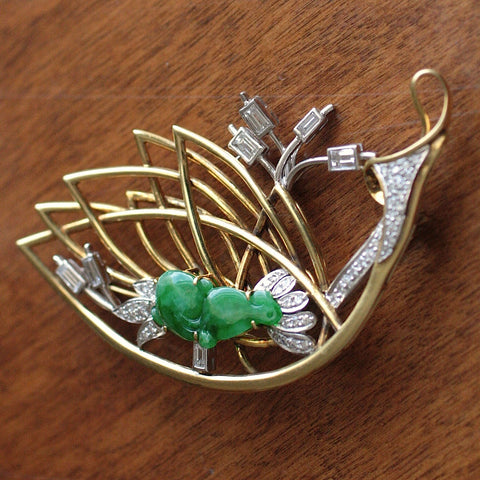 Circa 1950-1960 18K Platinum, Diamond & Jade Brooch