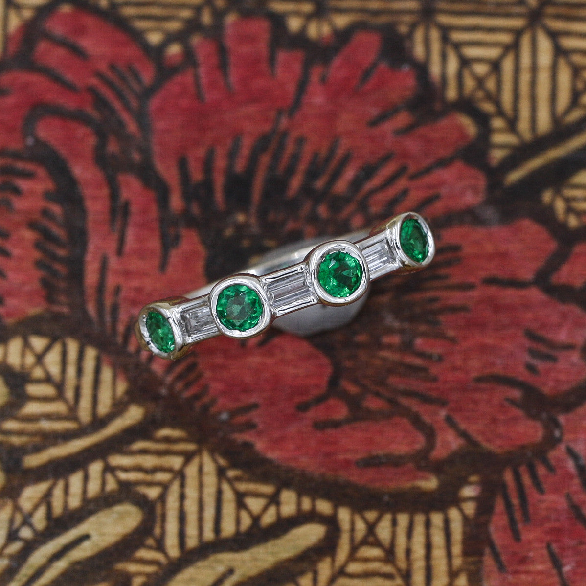 Alternating Round Cut Emerald and Baguette Cut Diamond Band- top view