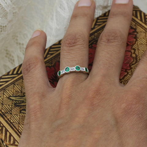 Alternating Round Cut Emerald and Baguette Cut Diamond Band- on model