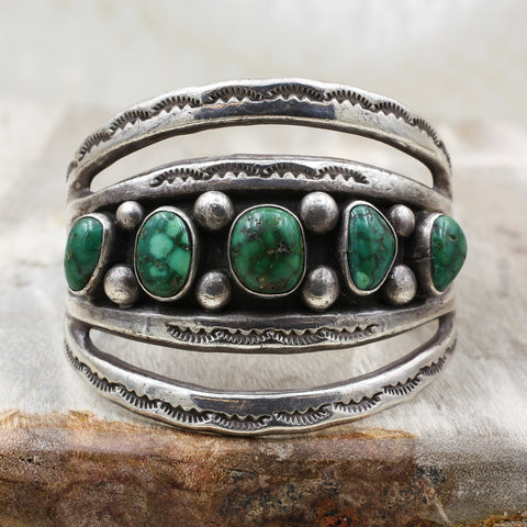 c1970 Navajo Turquoise Cuff by Morty Johnson