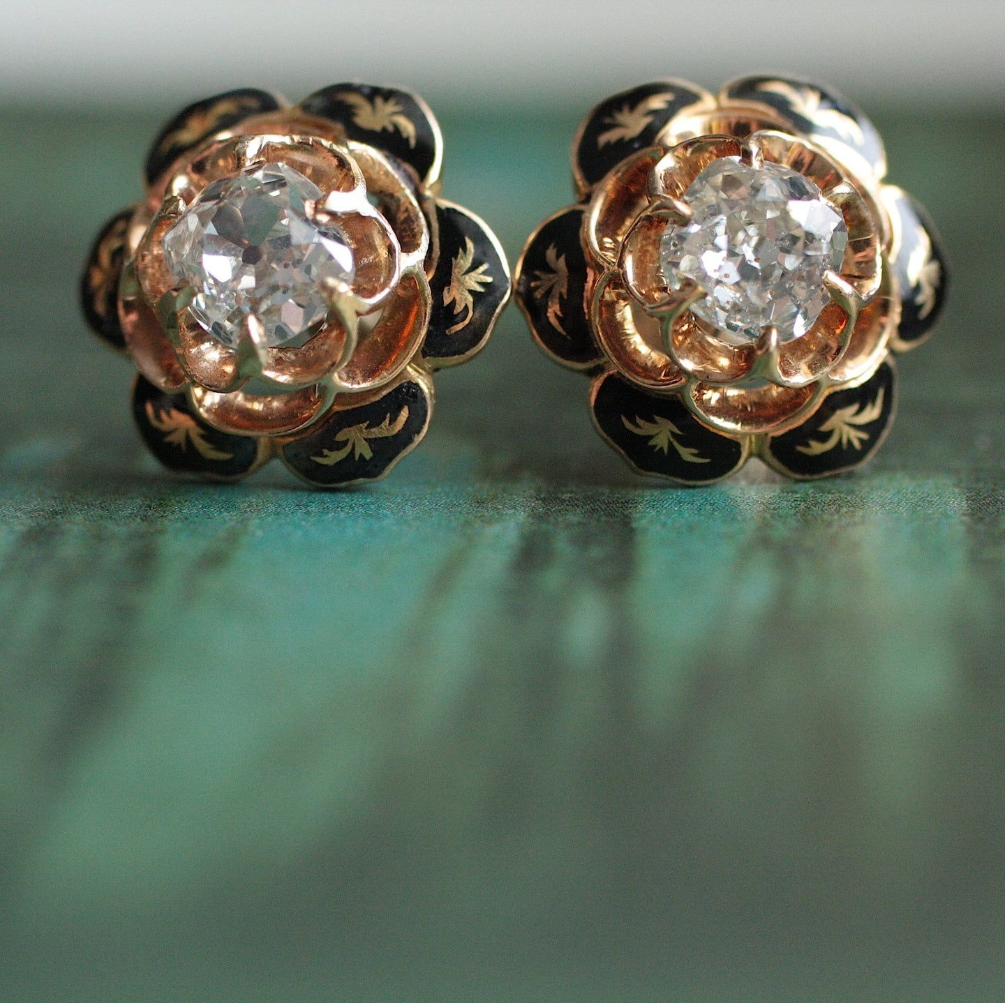 Circa 1890 18K Enamel Diamond Stud Earrings