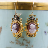 c1870 18k Hanging Hardstone Cameo Earrings