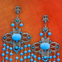Persian Turquoise and Rose Cut Diamond Chandelier Statement Earrings
