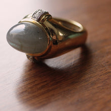 Vintage David Webb 18K Labradorite & Diamond Ring
