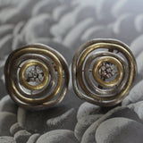 1980's Handmade 18K Diamond Earrings