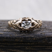 c1880 Old Mine Cut Diamond Rose Gold Solitaire- Front View