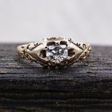 c1880 Old Mine Cut Diamond Rose Gold Solitaire