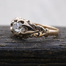 c1880 Old Mine Cut Diamond Rose Gold Solitaire- Side View