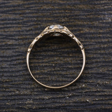 c1880 Old Mine Cut Diamond Rose Gold Solitaire- Profile View
