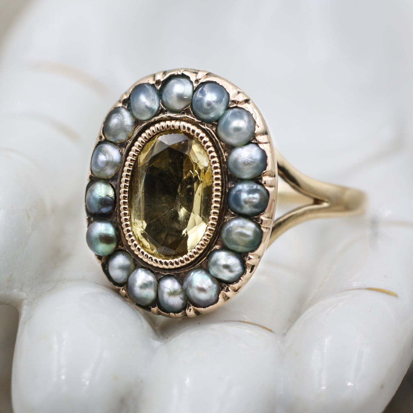 c1850 Natural Black Pearl and Citrine Ring