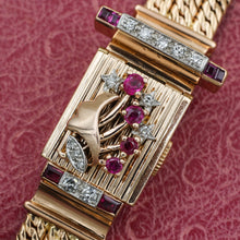 C1940 Ruby and Diamond Retro Covered Watch