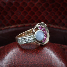 Retro Star Sapphire and Ruby Ring