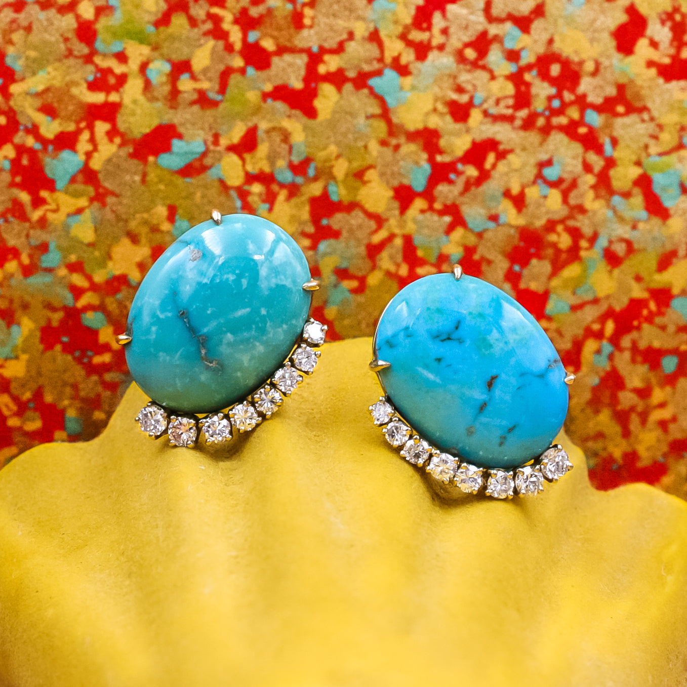 Midcentury Sleeping Beauty Turquoise Earrings