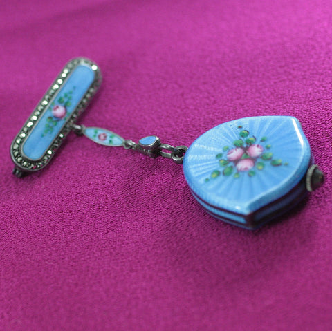 Circa 1930's Bucherer Sterling & Enamel Brooch Pin