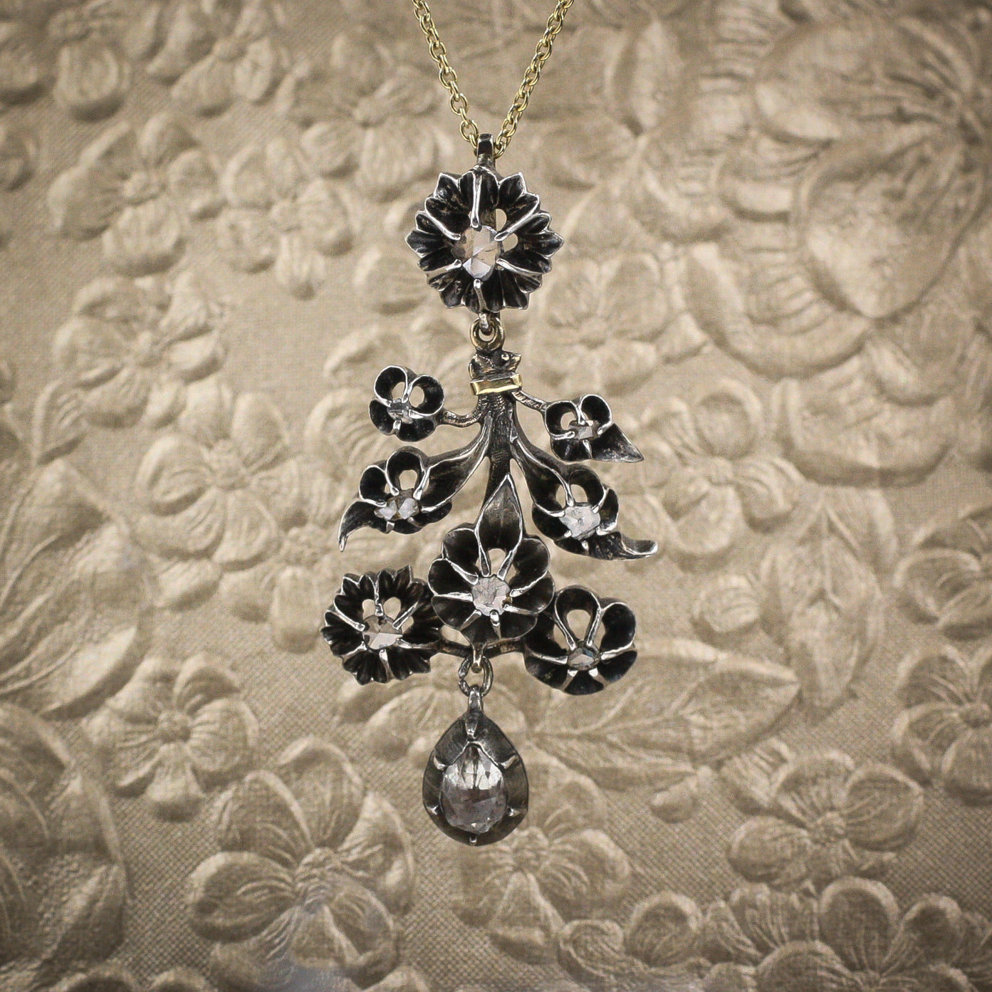 Starry Floral Rose-cut Diamond Pendant c1850
